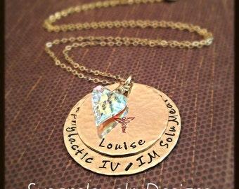 Gold Medical Alert Necklace - gold filled 1 sided discs & chain - Swarovski heart shaped crystal