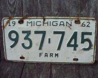 Vintage Michigan plaque dimmatriculation 1959 vert jaune MI