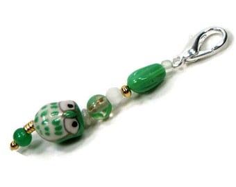 Purse Jewelry Purse Charm Key Fob Zipper Pull Mint Green Owl Gold Beaded Scissor Fob Pocketbook Decoration