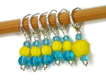 Locking Removable Stitch Markers Crochet Row Markers Yellow Aqua Blue Knitting Supplies DIY Crafts