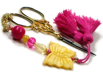 Scissor Fob Yellow Butterfly Pink Scissor Minder Beaded Scissor Keeper Needlepoint Quilting Sewing Cross Stitch