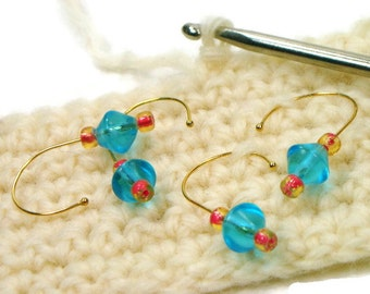 Removable Stitch Markers Snagless Aqua Blue Pink Crochet Snag Free Row Markers Gift for Crochet Knitting TJBdesigns