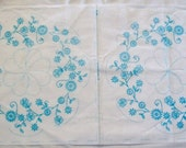 Stamped Needlework, Stamped for Embroidery, Vintage Stamped Pillow, Embroidery Supplies, Quilt Block, Pillow Covers