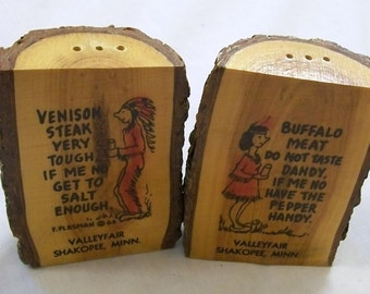 Vintage Salt and Pepper Shakers, Wood Shakers, Set of Shakers, humorous saying