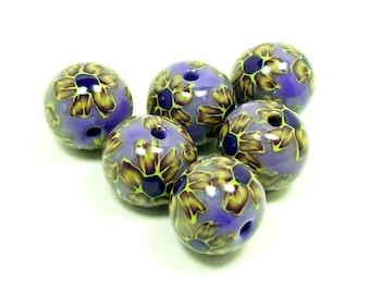 NOW ON SALE Flowers on Purple - Handmade Polymer Clay Beads
