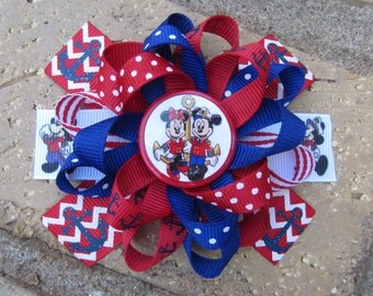 Disney Cruise Lines Inspired Custom Boutique 3 Layer Loopy Flower Boutique Hair Bow Nautical Minnie Mickey Mouse for Disney Vacation