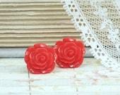 Red Rose Earrings Red Stud Earrings Rose Studs Red Flower Earrings Red Earrings Hypoallergenic