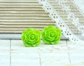 Lime Green Earrings Green Rose Studs Rose Earrings Green Flower Earring Green Rose Earrings Green Rose Jewelry