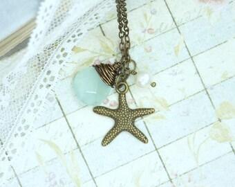 Starfish Necklace Nautical Jewelry Beach Necklace Sea Jewelry Ocean Necklace Starfish Jewelry Nautical Necklace