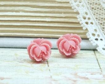 Pink Rose Earrings Rose Stud Earrings Pink Studs Pink Flower Earrings Surgical Steel Studs Pink Flower Studs