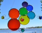 Rainbow Kaleidoscope Stained Glass Suncatcher