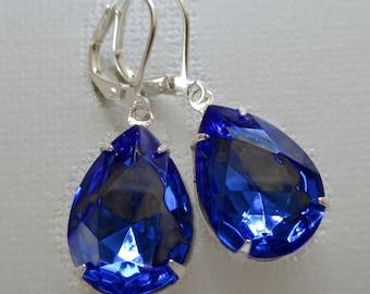 Sapphire Earrings - Blue Crystal Earrings - September Birthstone - Bridesmaid Gift - CAMBRIDGE Sapphire