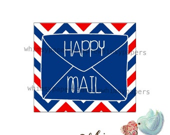 Happy Mail stickers - set of 50, 1.5 X 1.75""