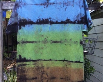 Mens medium premium blue,green and brown Shibori Landscape tie Dye