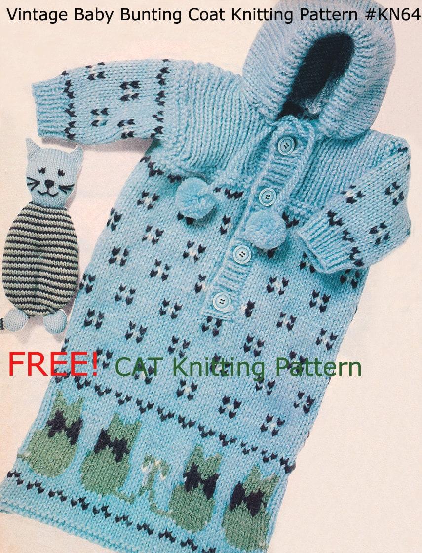 Cat Coat Knitting Pattern : Bunting baby coat free cat toy knitting pattern