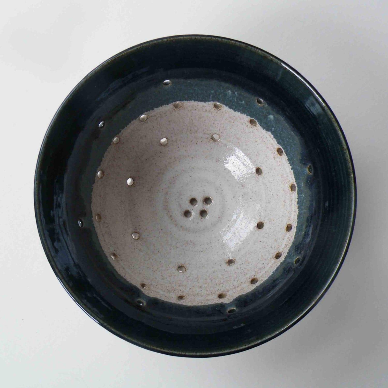 Dark Teal With White Fruit Bowl Wedding Kitchen Shower Gift