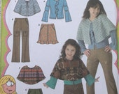 Lizzie Mcguire Childs Girls Pants,Skirt,Poncho,Capelet and Knit Top Pattern,Simplicity 4517 Girls Size 3-6