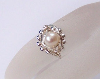 Sterling Silver Ring - Celestial Pearl - Wire Wrapped Ring - Sterling Silver and Freshwater Pearl Wrapped Ring - All Sizes Available