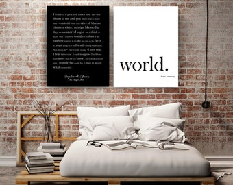WHAT a wonderful WORLD Canvas set Personalized Song Lyrics Wall Art Poster Print 8x10 16x20, 20x24 custom song lyrics art First Dance Song