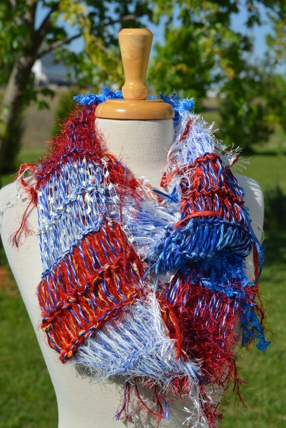 Red, White and Blue Scarf, Hand Knit Fringed Infinity Scarf, 'Patriot' Shaggy Chic, Knit Scarf, Political, USA France knit art yarn scarf