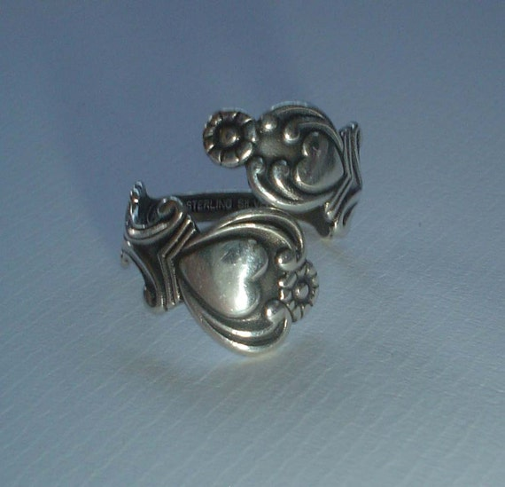 Sterling Silver Ring Avon Treasured Heart Spoon Ring Vintage