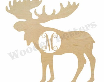 Wooden Moose Shape with Monogram Insert