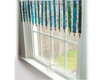 Pretty Classy Cool Tones  Stained Glass Window Treatment Valance