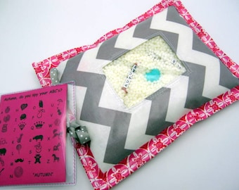 I Spy Bag  - Wipeable, Personalized, ABCs and Colors - Gray Chevron with Pink Border