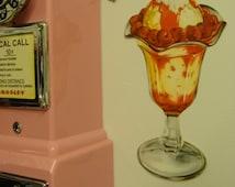 Vintage Antique Tasty Treats 1950s Ice Cream Jumbo Raspberry Sundae Die Cut Party Diner Kitchen Sweets Decoration Decor Display