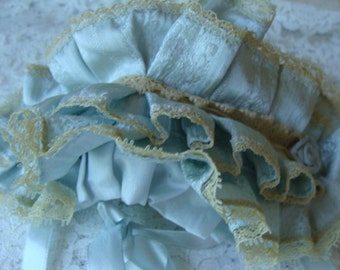 Reserved and Sold for Lyn Stunning Blue Silk Millinery Victorian Baby Antique Bonnet