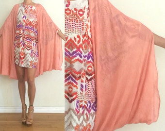 Upcycled Vintage Muted Coral Textured Woven Cocoon Cape Boho Cover-Up One Size OS