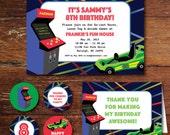 Arcade game, go-cart, laser tag birthday party invitation set (custom), printable file
