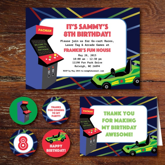 Arcade game go cart laser tag birthday party invitation set il570xn filmwisefo