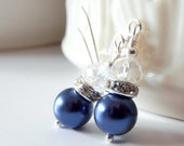 Navy Pearl Bridesmaid Earrings, Small Dangles, Dark Blue Wedding Jewelry Sets, Crystal and Pearl Earrings, Simple Bridesmaid Jewelry, Indigo