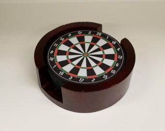 Darts Dartboard Coaster Set of 5 with Wood Holder