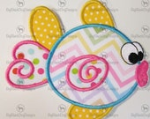 Kissy Fish Embroidered Applique - Iron On or Sew On