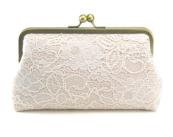 Bridal Clutch | Wedding Purse | Lace Clutch | Blush Clutch [Antoinette Clutch: Ivory on Blush]