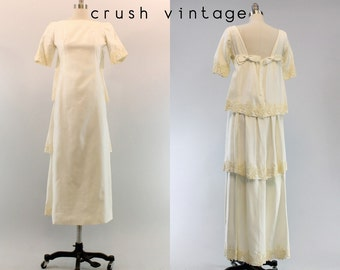 60s Emma Domb Wedding Dress XS / 1960s Watteau Bridal Gown /  Ivy and Wine Dress