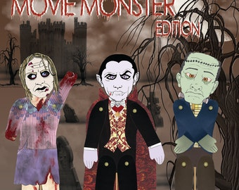 Monster themed Stick Puppet Kit Craft Project Party Activity Vampire, Frankenstein, Zombie