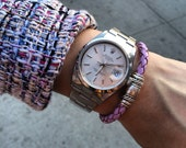 Magnetic Clasp Bracelet / Lilac Braided Leather Bracelet for Women and Men / Skye