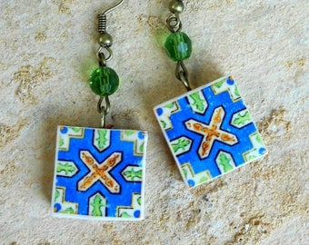 Portugal  Antique Azulejo Tile Replica Earrings,  Blue and Brown - waterproof and reversible 639