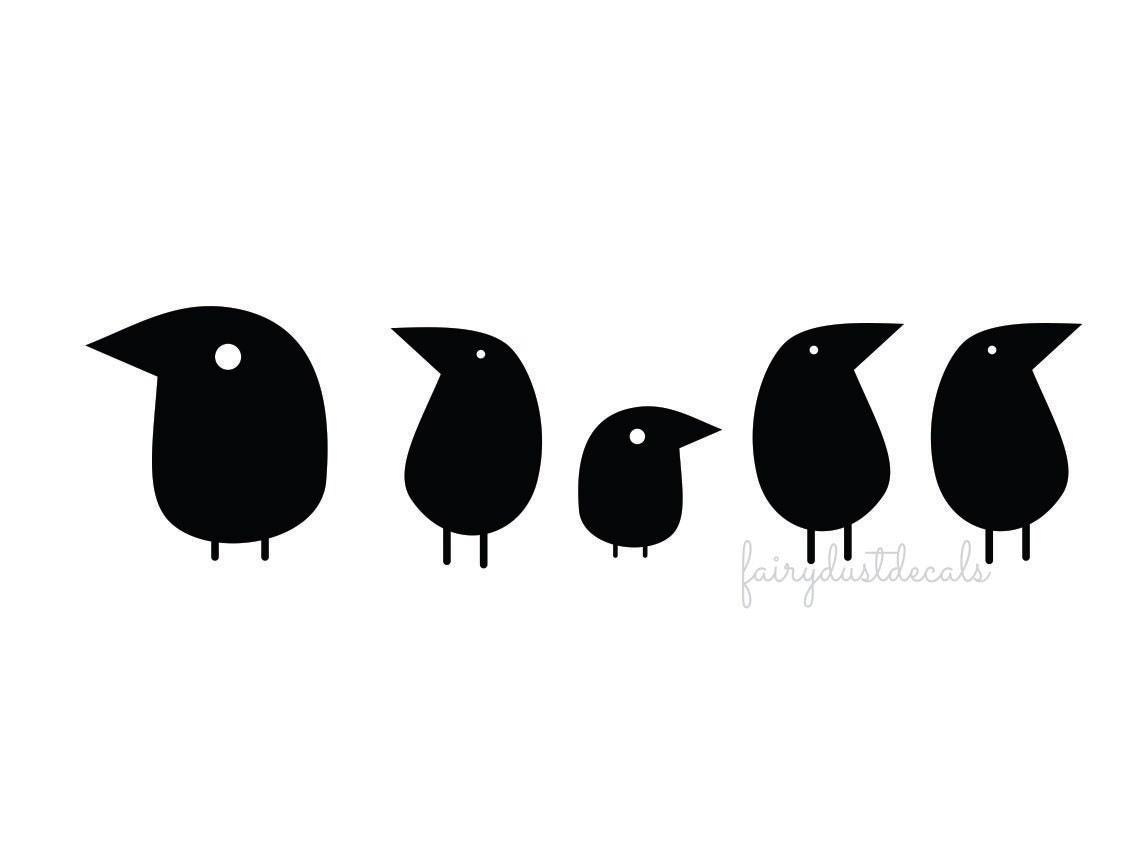 Bird Wall Decals Set Of 5 Birds Bird Vinyl Decal Bird