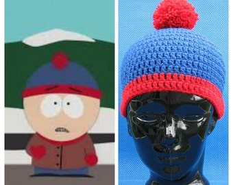 Crochet Stan Marsh South Park Beanie hat skull cap blue red stripe crocheted with LoTs of love Cosplay Halloween Christmas Gift