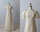 1970s Wedding Dresses / Vintage 70s Wedding Gown / A-Line / Lace / Priscilla of Boston