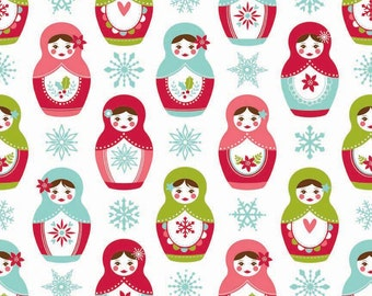 FALL SALE - Merry Matryoshka - Main in White - Sku C4380 - 1 Yard - by Carly Griffith for Riley Blake Designs