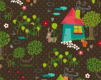 1 HALF YARD The Woodlands main in brown, Anthology fabrics