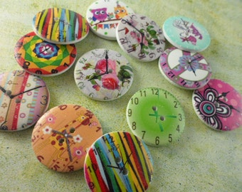 Wood Buttons - Colorful Clocks - Set of 12