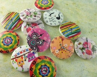 Wood Buttons - Colorful Clocks - Set of 12 - Set #2
