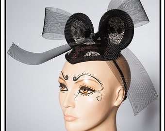 Sugar Skullery… Minnie Mouse Ears in Skull Print WIth Black Bow