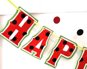 Watermelon Party Banner, Watermelon Birthday Party, Watermelon Decor, Watermelon Party Supplies, Custom Watermelon Banner, HAPPY BIRTHDAY